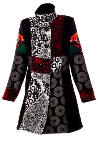 Mantel Kurzmantel Jacke 40 42 bunt schwarz Winterjacke Damenjacke Muster