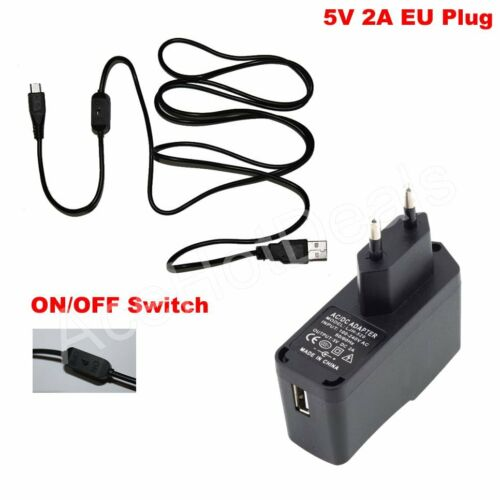 EU Power Supply adapter Charger ON//OFF switch Cable 5V 2A For Raspberry Pi B+//B