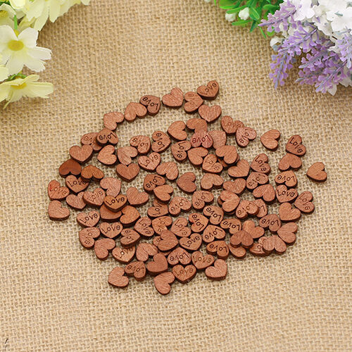 Wood Buttons 100Pcs Sweet Love Heart Sewing Appointment Wedding Decoration New