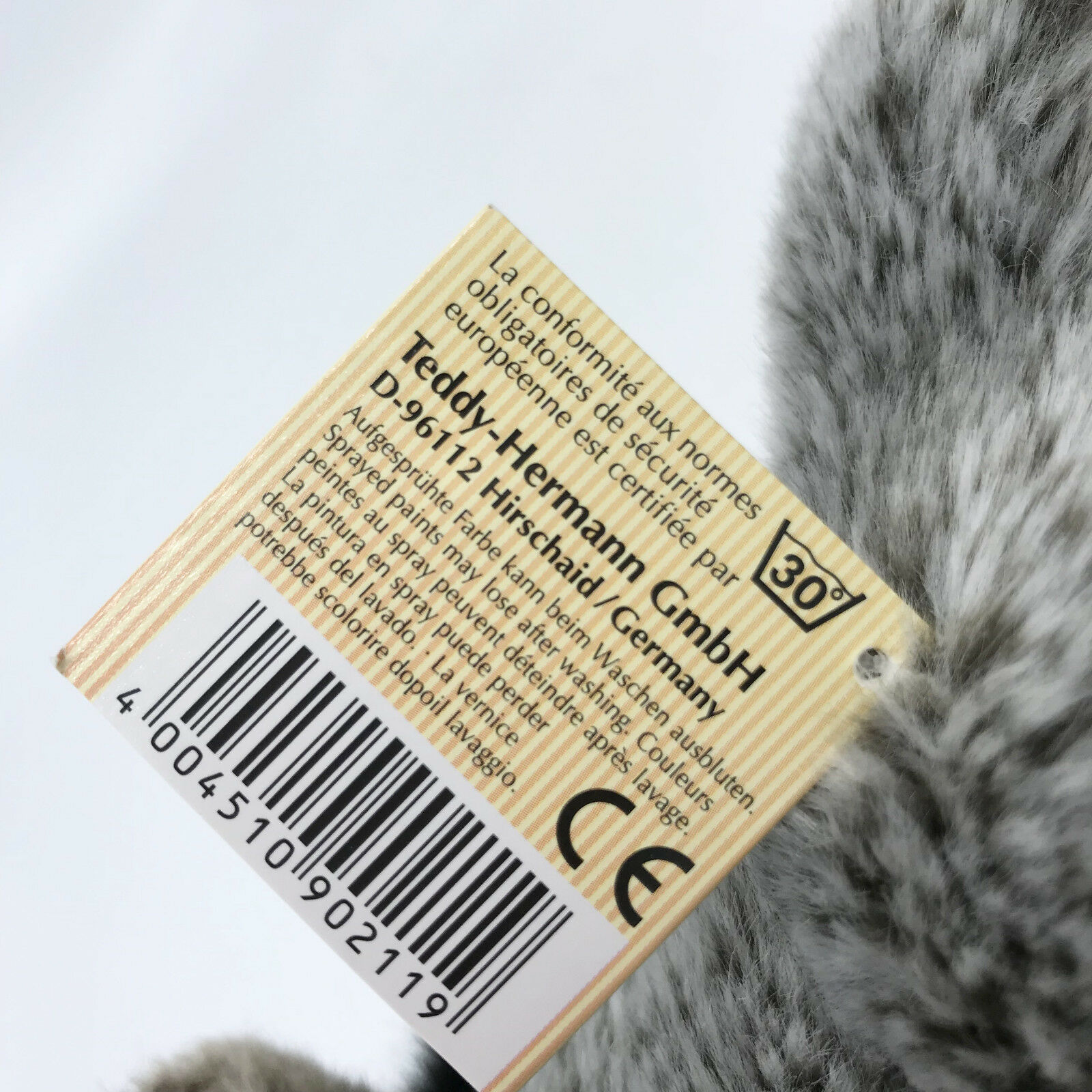 Hermann Teddy Plush Baby Donkey Soft Toy Hang 19cm 7.5in Hang Toy Tag Seam Label d9107c