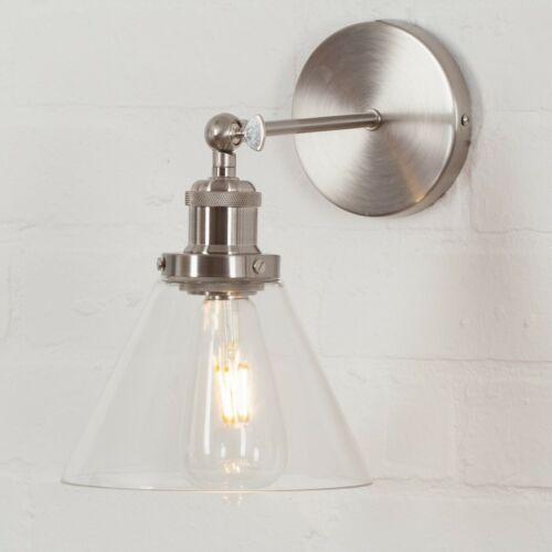 Métal Moderne Rétro Nickel satiné industriel usine mur lumière appliques abat-jour en verre