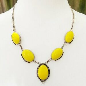 Vintage-925-Sterling-Silver-Bright-Sunshine-Yellow-Glass-Stone-Cabochon-Necklace