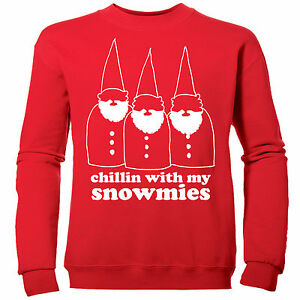 CHILLIN-WITH-MY-SNOWMIES-FESTIVE-BOYS-NOVELTY-CHILDRENS-XMAS-SWEATSHIRT-JUMPER