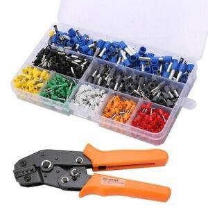 Electricians-Ratchet-Crimping-Tool-amp-800-Wire-Stripper-Kit-Crimper-Terminal-Set