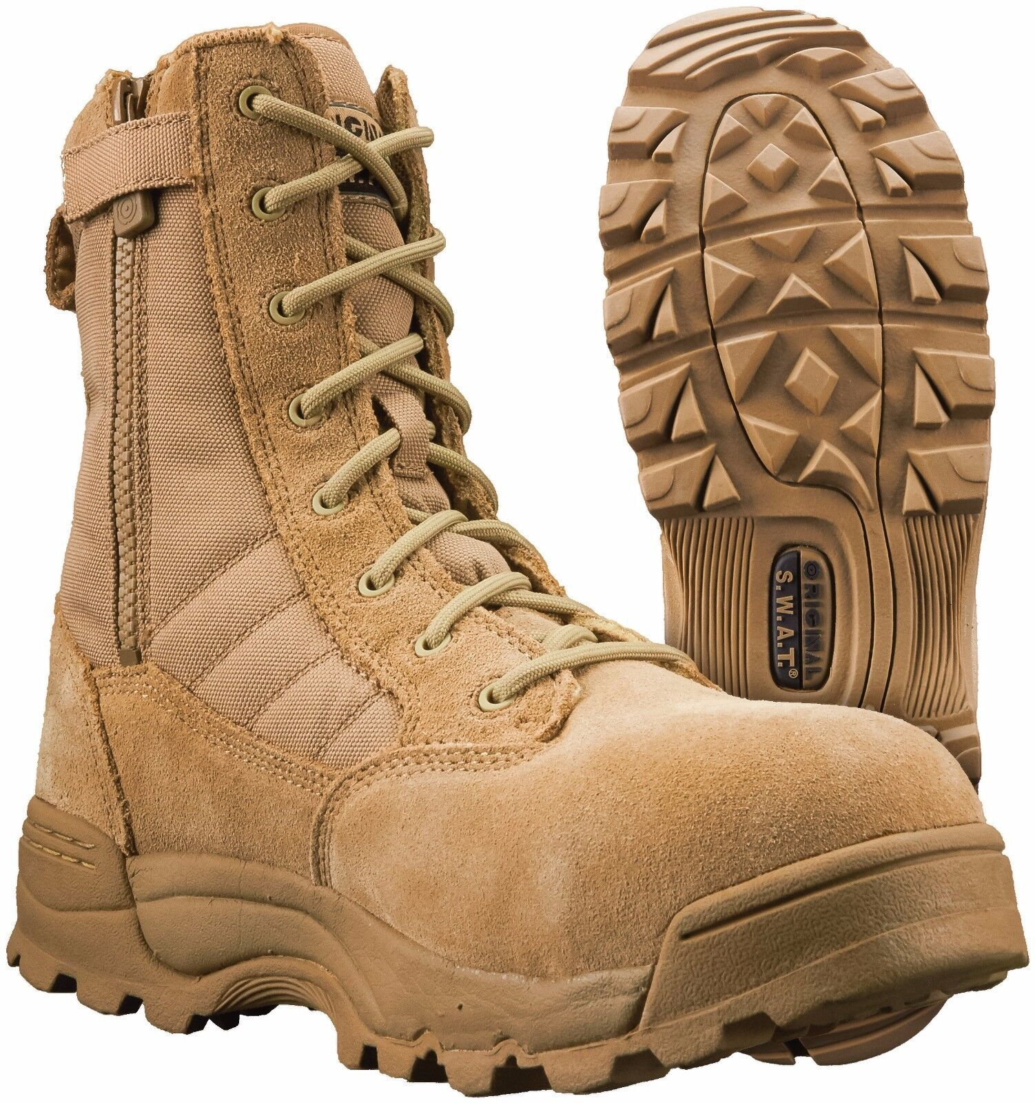 Original SWAT Classic 9 Side Zip Safety Toe Boot Tan   the latest