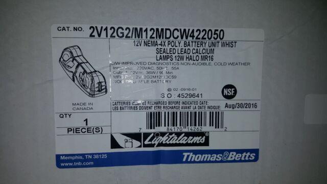 RQAUS1 Emergi-Lite THOMAS /& BETTS JSM27-2 JSM272 without 6V 12Ah battery