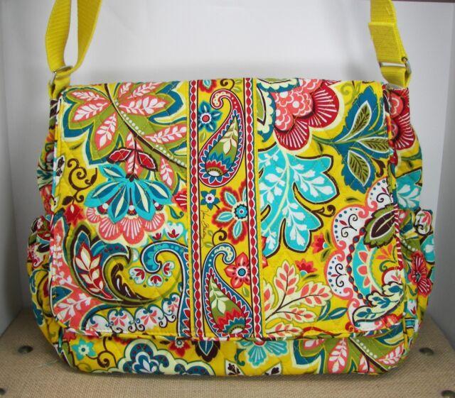 Vera Bradley Provencal Messenger Baby Diaper Bag W Changing Pad Yellow Fl