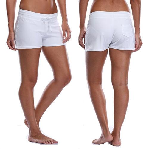 Popular Ladies Full Coverage Surf Swim Board Shorts Drawstring Swimwear Stretchy