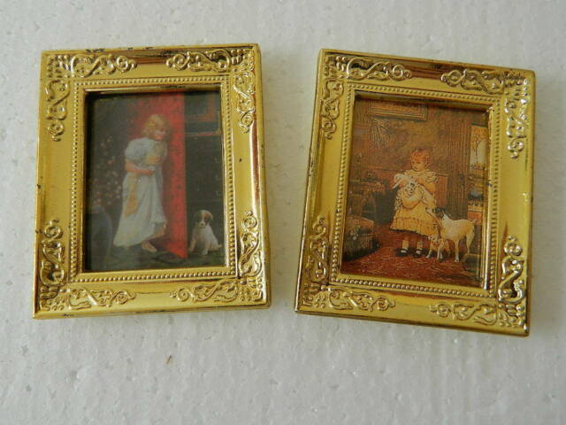 (M5.29)1/12th scale DOLLS HOUSE TWO FRAMED PICTURES (CHILD/PET)
