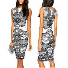 US Women Lady Flower Print Elegant Formal Sleeveless Evening Party Pencil Dress