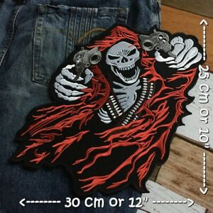 Vampire Skull Chopper Biker Motorcycle Iron on Embroidered Large Back patch XL