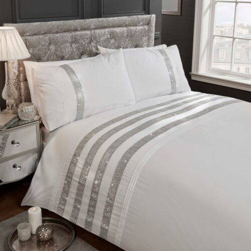 Carly Diamante Bands Duvet Cover//Quilt Cover Set Embellished Bedding Grey White