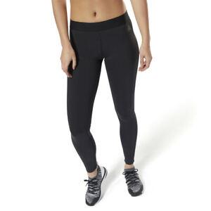Reebok-Womens-Bonded-Mesh-Panel-Les-Mills-Tight-Full-Length-Gym-Leggings-Black