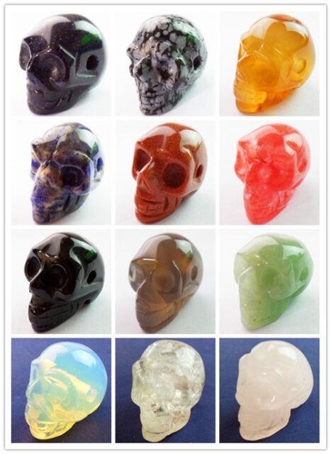 Wholesale!Carved Mixed Gemstone Skull Pendant Bead Pick 1Pcs Or 12Pcs XLZ-144