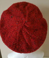 NEW!Completly Hand Knitted French Beret Style in Ireland 100% Donegal Tweed wool