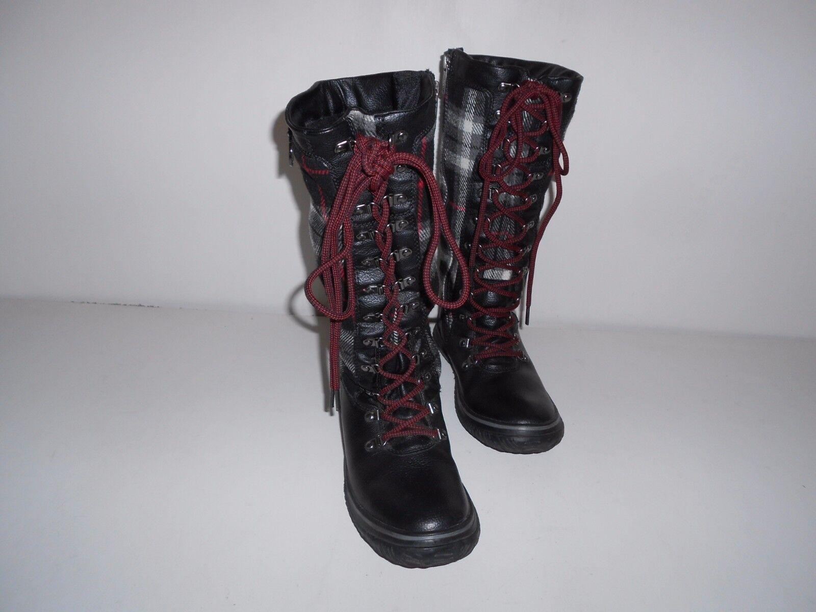 botas de invierno para mujer pajar negro Cuero y y y forro de pelo tela de cuadros escoceses US 7-7.5 EU 38