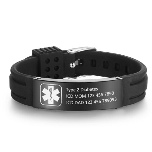 Personalized Medical Alert ID Bracelet Silicone Wristband For Women Men Kid Gift