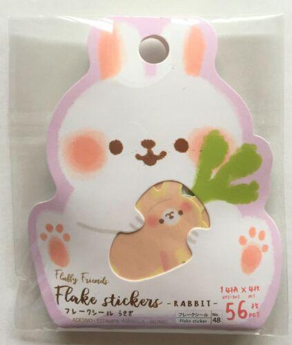Lovely Cute Kawaii Animal Rabbit Flake Sticker 56 Carrot Kids Gift DAISO JAPAN