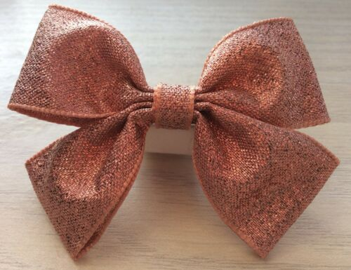 Clips Clasps 2 Girls Lovely Rose Gold Sparkly Handmade Ribbon Hair Bows