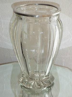 Große Kristallvase,Vase 950 Silberrahmen,handgeschliffen,Weinlaub,Frankreich