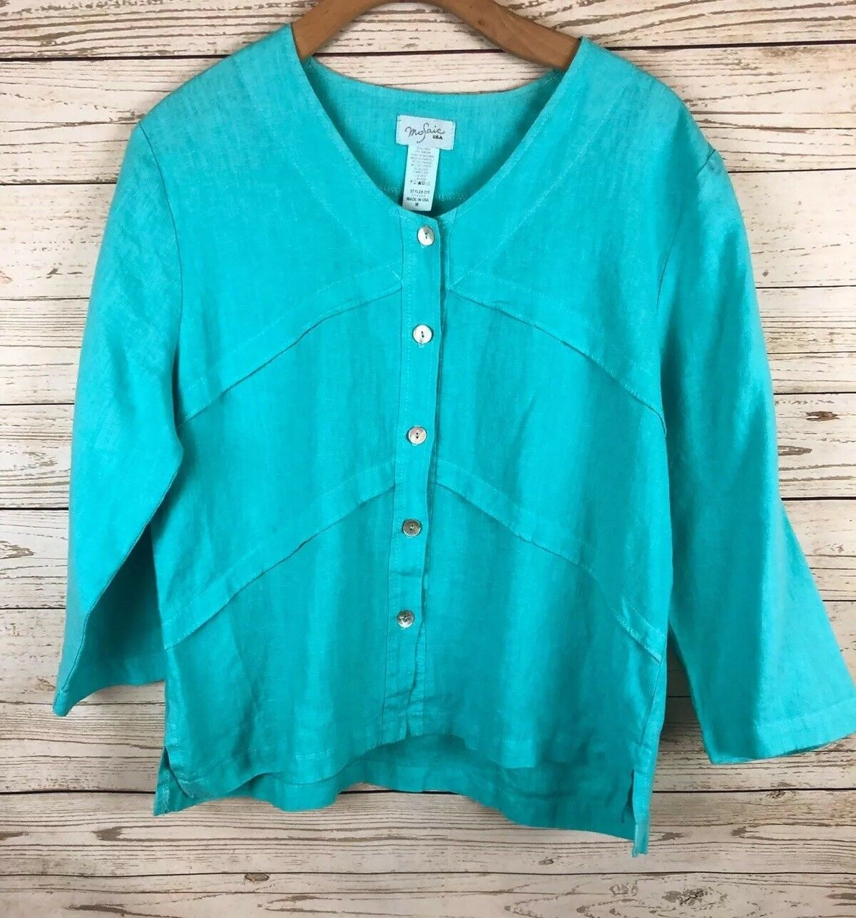 Mosaic USA Medium 100% Linen Turquoise Lagenlook Button Down Blouse j5
