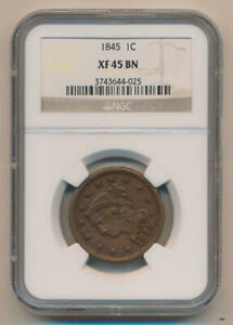 1845 Braided Hair Large Cent. NGC XF45 Brown