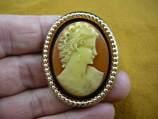 (CM21-40) LOVELY WOMAN curls hair orange + ivory CAMEO oval Pin Pendant Jewelry