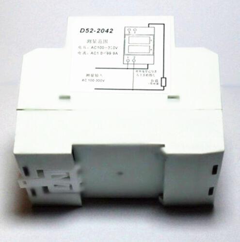 New 0-100 A 80-300 V AC DEL Numérique Din Rail électrique compteur 1 Phase D52-2042