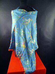 Taj-Wood-Scherer-Schal-Scarf-Schal-blau-mit-Bluemchen-Halstuch-1903-263