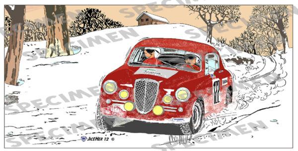 """""""aurelia Dans La Neige"""" Dessin (6ex Dispo) Lancia Rallye Monte Carlo Par Jiceher"""