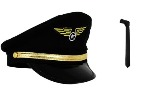 Pilot Cap Fancy Dress Airline Capitaine Hat AVIATION 80 S Aviateur Accessoires Costume