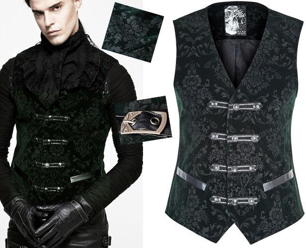 Gilet veste gothique dandy baroque velours jacquard galons Punkrave homme verde