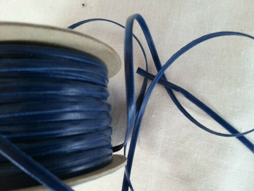 "Blue Faux Leather Flat Cord Necklace String Thong Beads 3mm 78/"" 2 Meters"