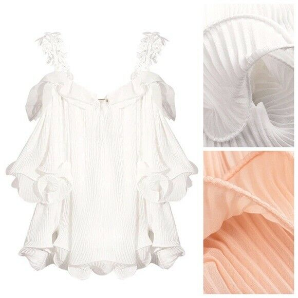 Gorgeous Peach & Cream Beaded Lace Pleated Ruffle Frill Baby Doll oben D52