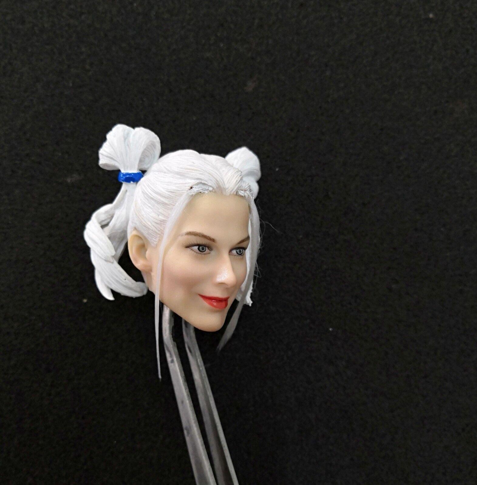 1 6 White Hair Hair Hair Mould Harley Quinn Female Head Sculpt Fit 12'' Body a295a2