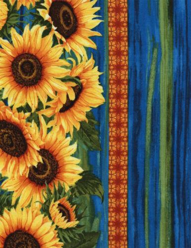 1 Half Metre Length Sunflowers Border Print Fabric C4345 gold