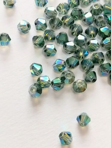 100pcs 2 mm Sea Blue Green Clear AB Electroplate Bicone Crystal Glass Beads