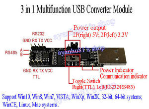 3in1 5v 33v serial converter board usb to rs485 rs232 ttl serial image is loading 3in1 5v 3 3v serial converter board usb sciox Images