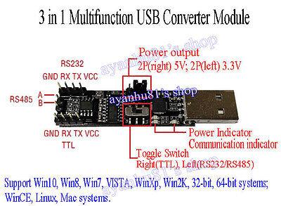3 in1 5V 3.3V CP2102 USB To RS485 RS232 TTL Serial Port Converter Board Module