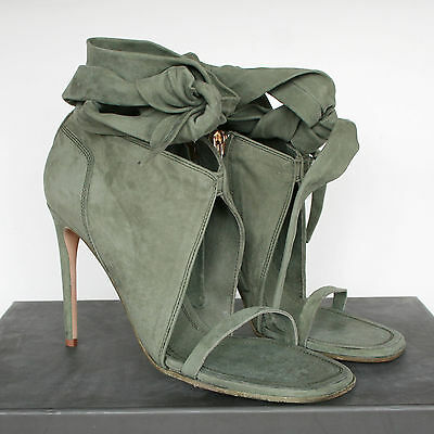 RICK OWENS $1,400 jade leather wrap tied ankle spike heel sandal shoes 41 NEW