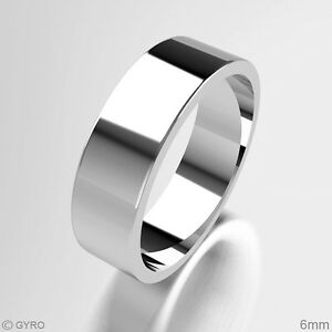 Wedding-Rings-New-Ladies-Gents-9-ct-White-Gold-Flat-Band-2mm-4mm-6mm-8mm