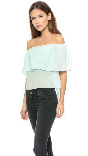 Rebecca Minkoff Silk Off-Shoulder Mint Top Größe XS NWT