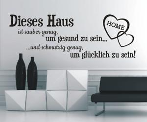 X4507-Wandtattoo-Spruch-Dieses-Haus-sauber-Glueck-Sticker-Wandaufkleber-Aufkleber