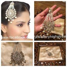 INDIAN Pakistani Bridal Pearl & Clear Matha patti, Jhumar, head jewellery,Pasa