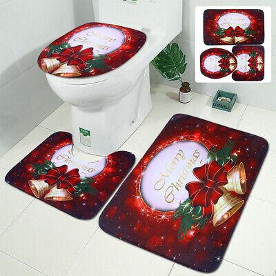 Christmas 3Pcs Set Bathroom Non-Slip  Pedestal Rug+Lid Toilet Cover+Bath Mat Red