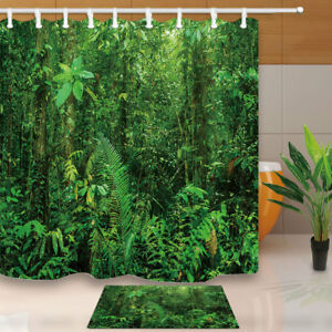 Image Is Loading Lush Rainforest With Bushes Ferns Jungle Bathroom Fabric