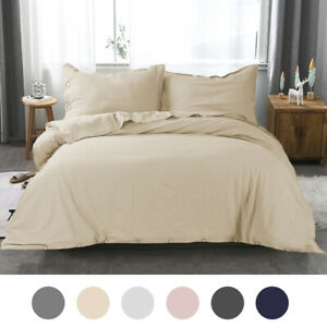 Linen-Cotton-Ultra-Soft-Duvet-Cover-Pillow-Sham-Set-for-Comforter-Button-Closure