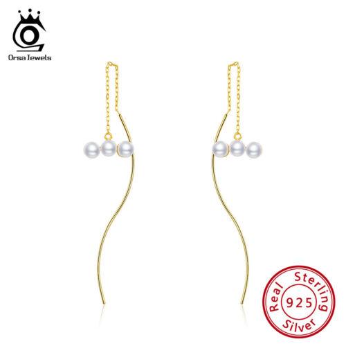 Argent Sterling 925 Shell Pearl Long Drop Dangle Boucles d/'oreilles Enfileur Bijoux Fête