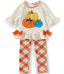 RARE EDITIONS Toddler 3T Thanksgiving Autumn Pumpkin Applique Dress NWT