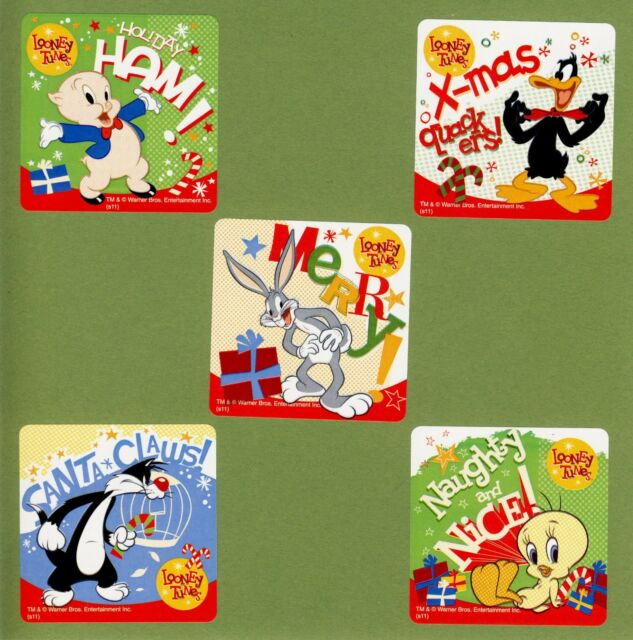 36 Looney Tunes Stickers Bugs Bunny Taz Sylvester Tweety Green Martian Cartoons